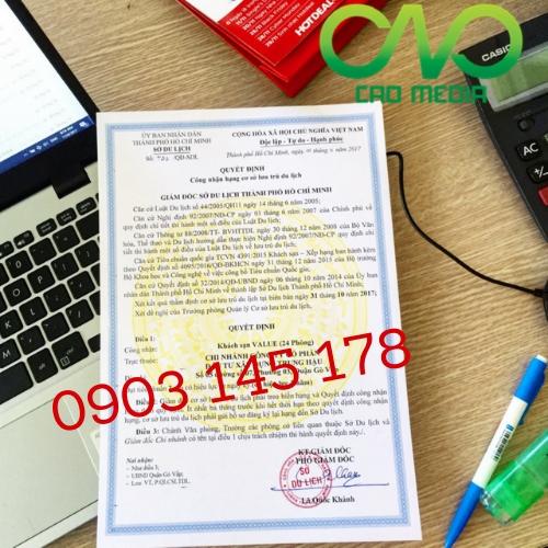 Cấp giấy chứng nhận tiêu chuẩn sao khách sạn tại Sở Du Lịch