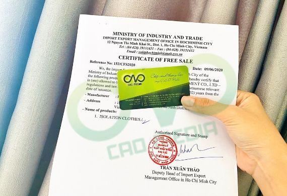 Thực hiện giấy phép lưu hành tự do cho đồ bảo hộ phòng dịch