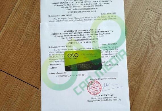 Thủ tục đăng ký giấy phép lưu hành tự do cho cà phê 3 trong 1