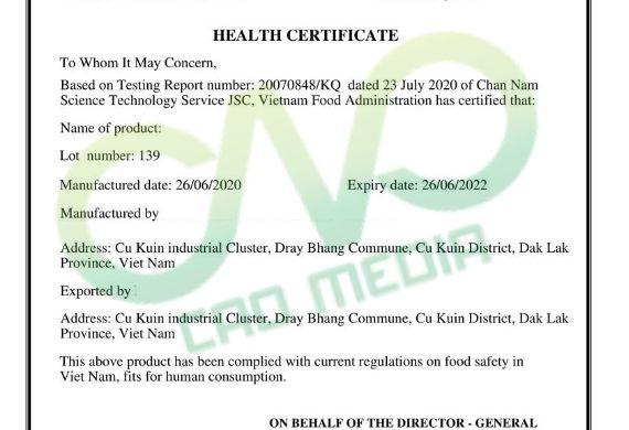 Thực hiện health certificate cho sản phẩm trái cây sấy