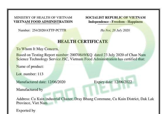 Thực hiện health certificate cho sản phẩm xoài sấy