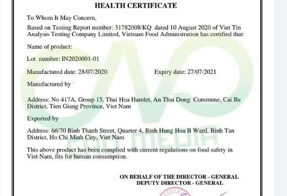 Xin giấy chứng nhận y tế cho bánh phồng tôm xuất khẩu