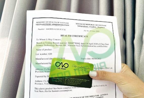 Xin giấy chứng nhận y tế cho cho khoai lang sấy xuất khẩu