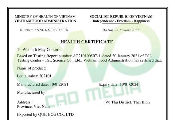 Cách thức đăng ký health certificate bong bóng cá xuất khẩu
