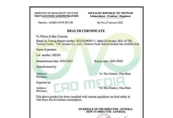Đăng ký giấy chứng nhận y tế cho dầu đậu tương xuất khẩu