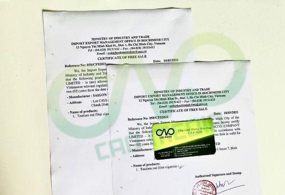 Đăng ký giấy phép lưu hành tự do CFS cho thuốc lá xuất khẩu