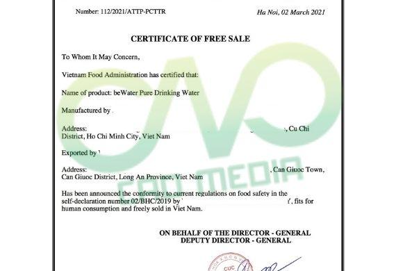 Mẫu giấy phép lưu hành tự do cho nước uống tinh khiết xuất khẩu