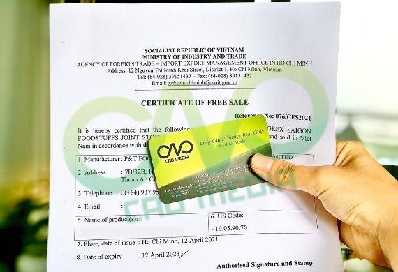 Đăng ký Certificate Of Free Sale sản phẩm khô gà