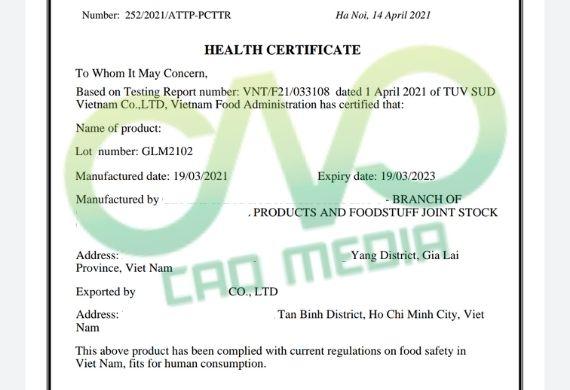 Hướng dẫn giấy chứng nhận y tế HC cho bột sắn dây xuất khẩu