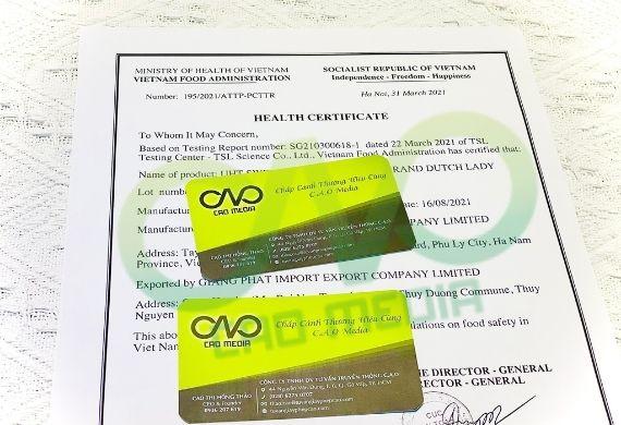 Chứng nhận health certificate cho thực phẩm hữu cơ xuất khẩu