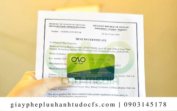 Xin giấy chứng nhận health certificate cho bánh bao trà xanh